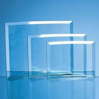 15.5cm x 19cm x 1cm Jade Glass Bevelled Crescent
