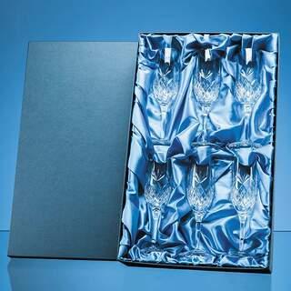 6pc 180ml Blenheim Lead Crystal Full Cut Champagne Flute Gift Set