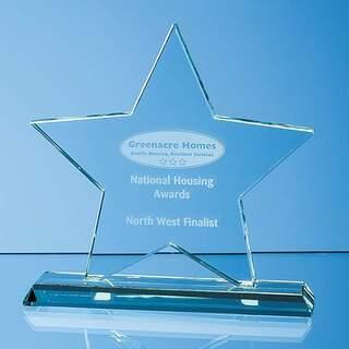10.5cm x 10.5cm x 12mm Mounted Jade Glass Star Award