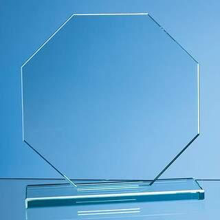 20cm x 20cm x 12mm Jade Glass Octagon Award