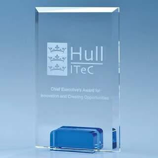 14.5cm Optical Crystal Rectangle with a Cobalt Blue Base