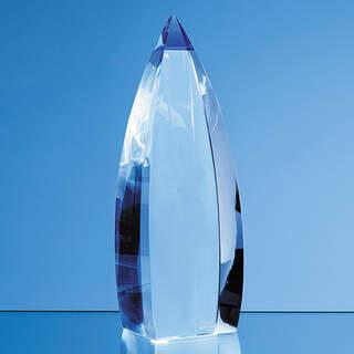 28cm Nik Meller Design Clear Optical Crystal & Cobalt Blue Vetri Obelisk Award