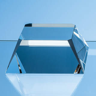 10cm Optical Crystal Square Base with Tapered Sides & Facet Corners