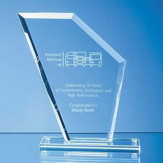 17.5cm x 15.5cm x 1cm Jade Glass Bevelled Edge Wing Award