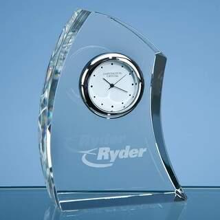11cm Dartington Crystal Crescent Clock