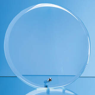 10cm x 1cm Jade Glass Bevel Edged Circle with Chrome Pin