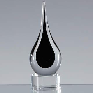 18cm Handmade Crystal Onyx Black Teardrop Award