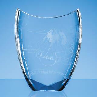 20.5cm Nik Meller Design Clear Optical Crystal & Cobalt Blue Divine Award