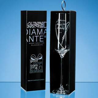 Just For You Diamante Champagne Flute with Heart Shaped Cutting in an attractive Gift Box