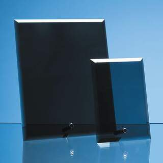 23cm x 18cm x 5mm Smoked Black Glass Rectangle with Chrome Pin